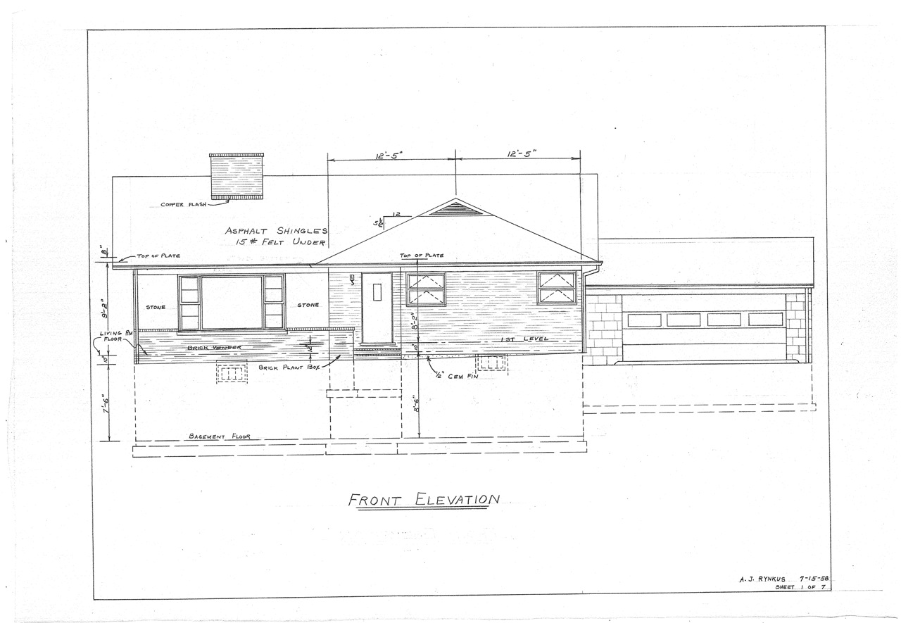 Front Elevation Blueprint : Our mid century split level house plans the on